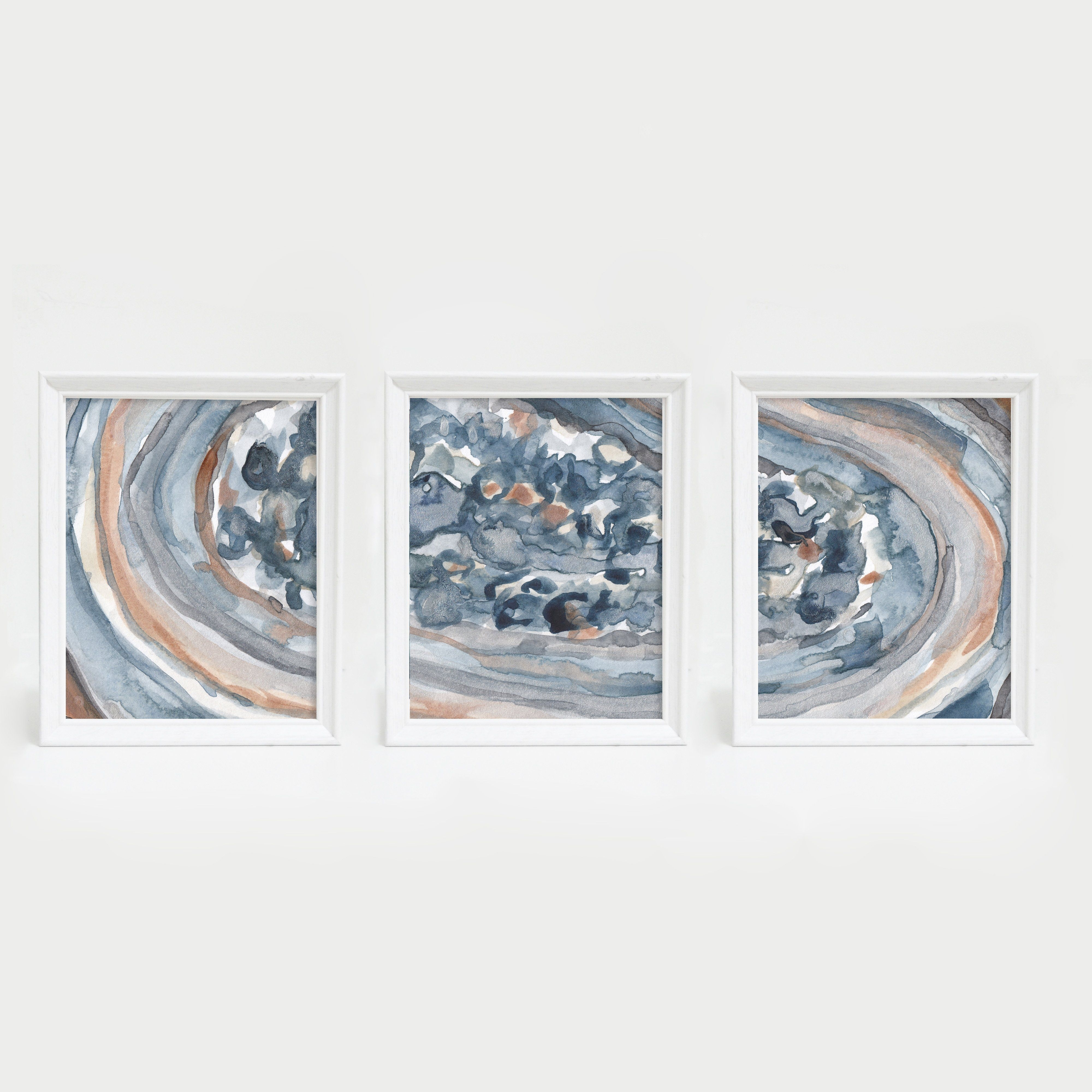 Watercolor Crystal Abstract Triptych Wall Art Print | Products With Recent Triptych Wall Art (Gallery 19 of 20)