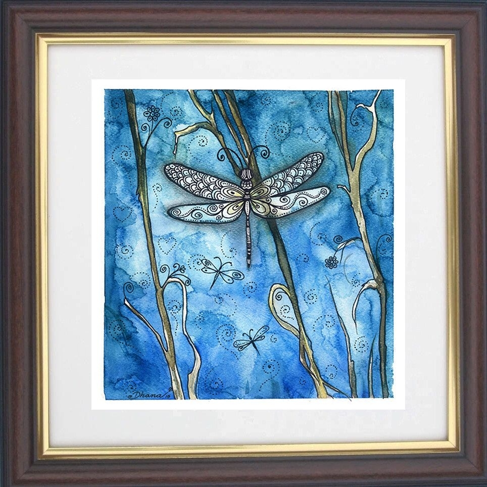 Watercolor Dragonfly Painting, Dragonfly Drawing Art Print, Boho For Most Recent Dragonfly Painting Wall Art (View 9 of 20)