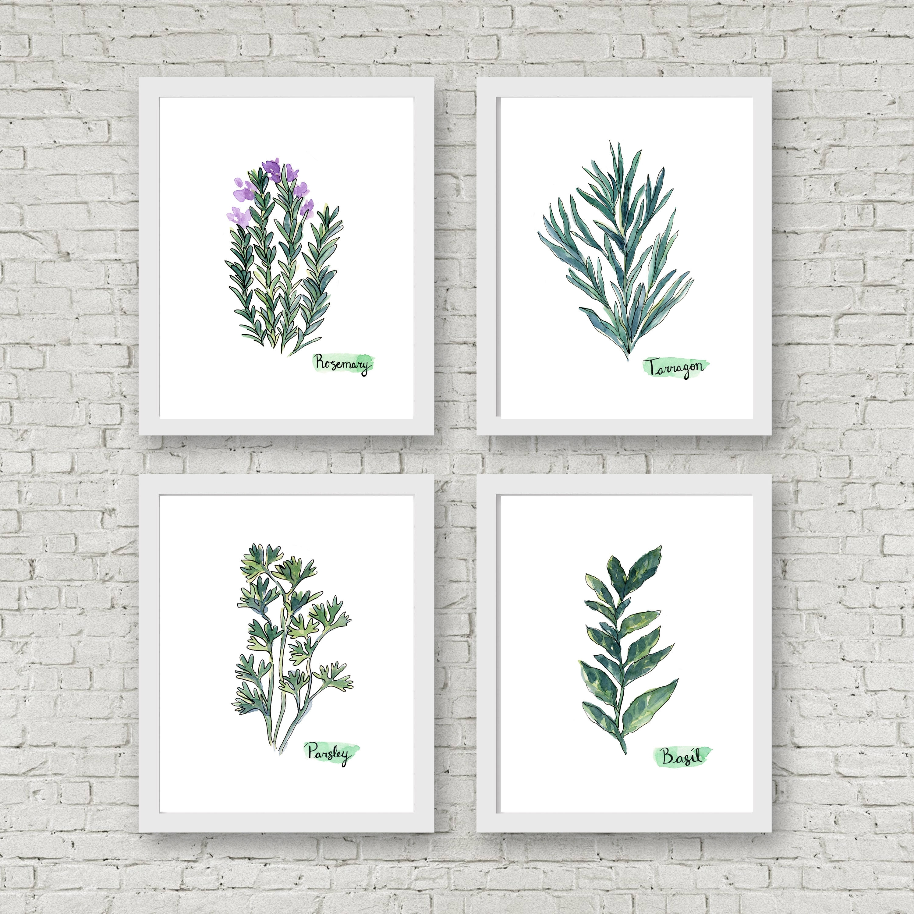 Watercolor Herb Print Set Of 4 Watercolor Green Botanical Prints For Most Current Herb Wall Art (View 18 of 20)