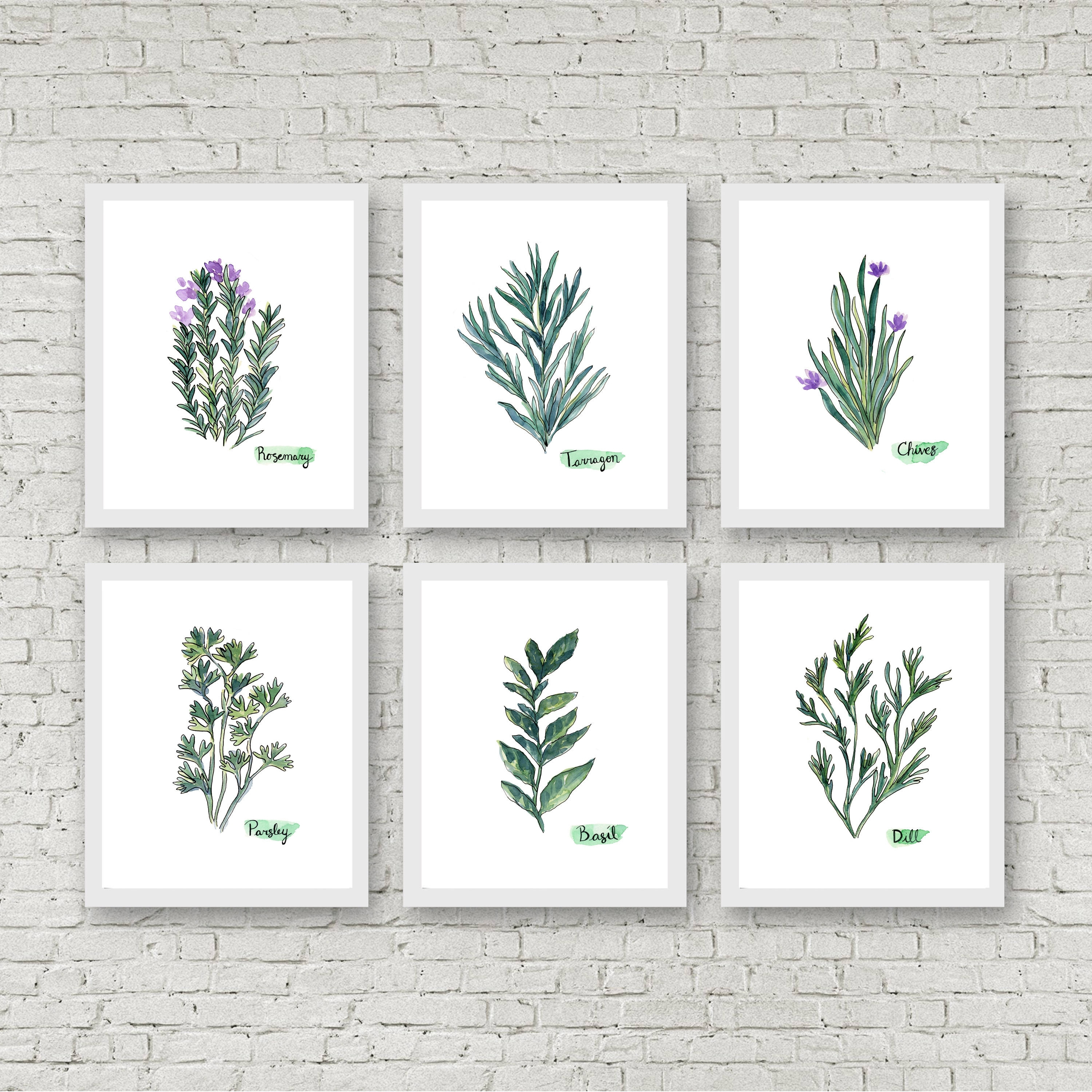 Watercolor Herb Print Set Of 6 Watercolor Green Botanical Prints With Regard To 2017 Herb Wall Art (View 19 of 20)
