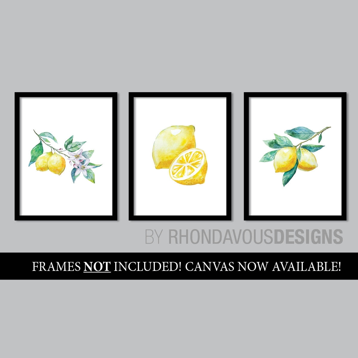 Watercolor Lemon Art Prints. French Country Decor (View 6 of 20)