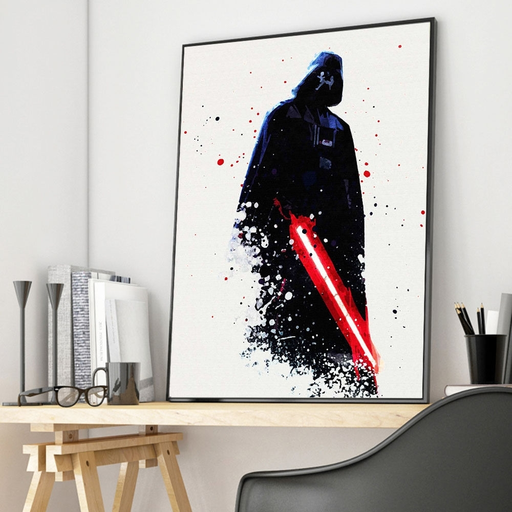 Watercolor Star Wars Darth Vader Movie Canvas Poster Art Print Wall For Latest Darth Vader Wall Art (Gallery 7 of 20)