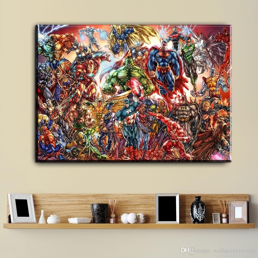Watercolor Superhero Avenger Movie Canvas Art Oil Painting Modern Inside Most Current Wall Art Paintings (Gallery 5 of 20)