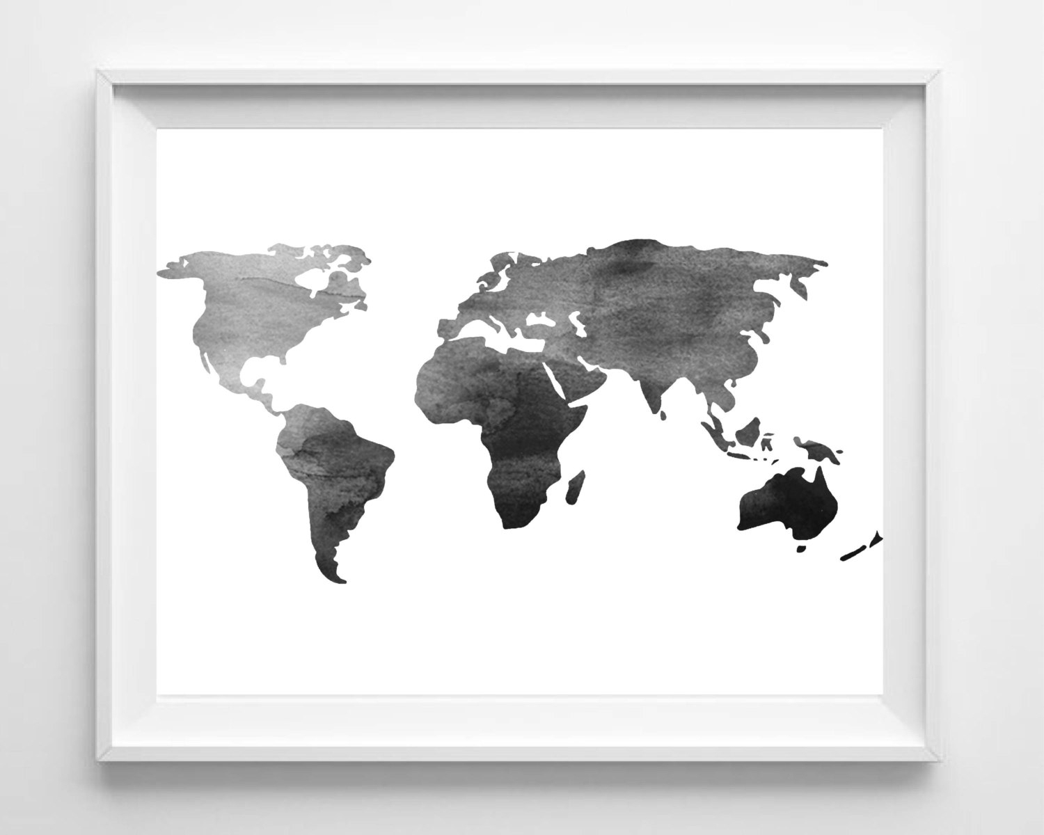Watercolor World Map Print Printable Black White Wall Art | Etsy With Most Up To Date White Wall Art (View 12 of 20)
