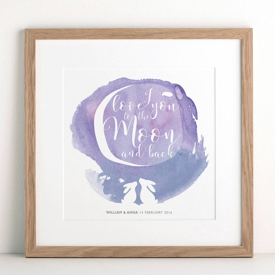 Watercolour Moon Rabbit Printletterfest | Notonthehighstreet For Newest I Love You To The Moon And Back Wall Art (View 17 of 20)