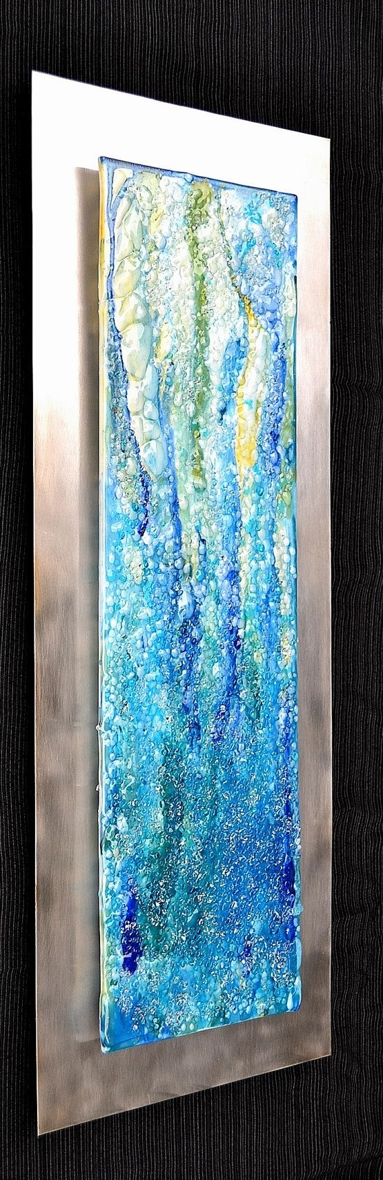 Waterfall – Modern Fused Glass Wall Hanging Art On Stainless Steel Pertaining To 2018 Glass Wall Art (View 15 of 15)