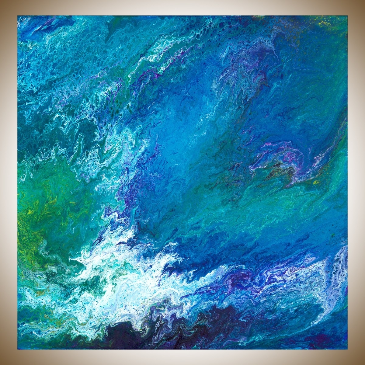 "Waterfallqiqigallery 30"" X 30"" Turquoise Blue Green Purple Intended For 2017 Turquoise Wall Art (View 13 of 20)"