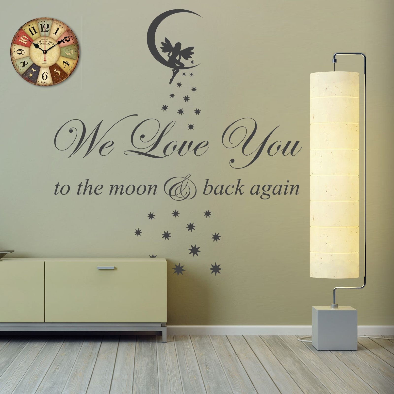We Love You To The Moon & Back Vinyl Wall Art Sticker Childs Room Regarding Most Up To Date I Love You To The Moon And Back Wall Art (View 15 of 20)