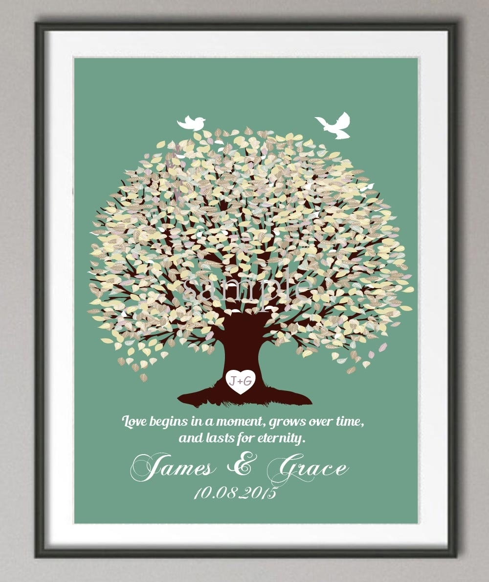 Wedding Anniversary Poster Family Tree Wall Art Print Pictures Within Most Current Personalized Wall Art (View 4 of 15)