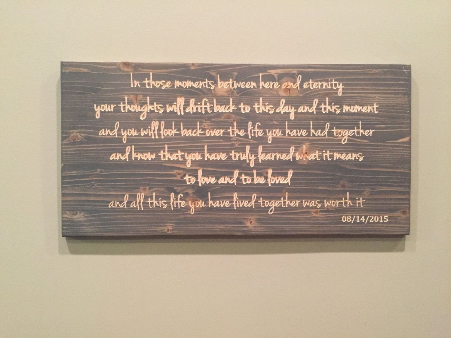 Wedding Vows, Carved Wood, Custom Quote Sign, Carved Wood Wall Art Intended For Most Recent Wood Wall Art Quotes (View 17 of 20)