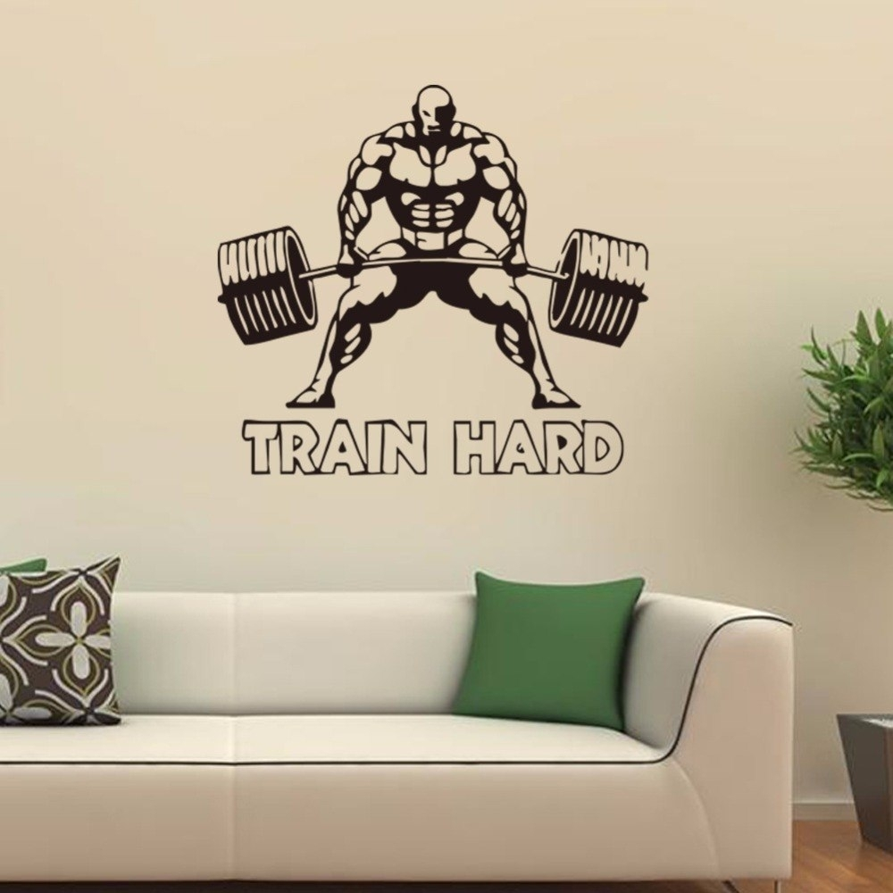 Weightlifting Sports Wall Art Decal Train Hard Home Decor Boys Rooms Intended For Most Current Sports Wall Art (View 6 of 20)