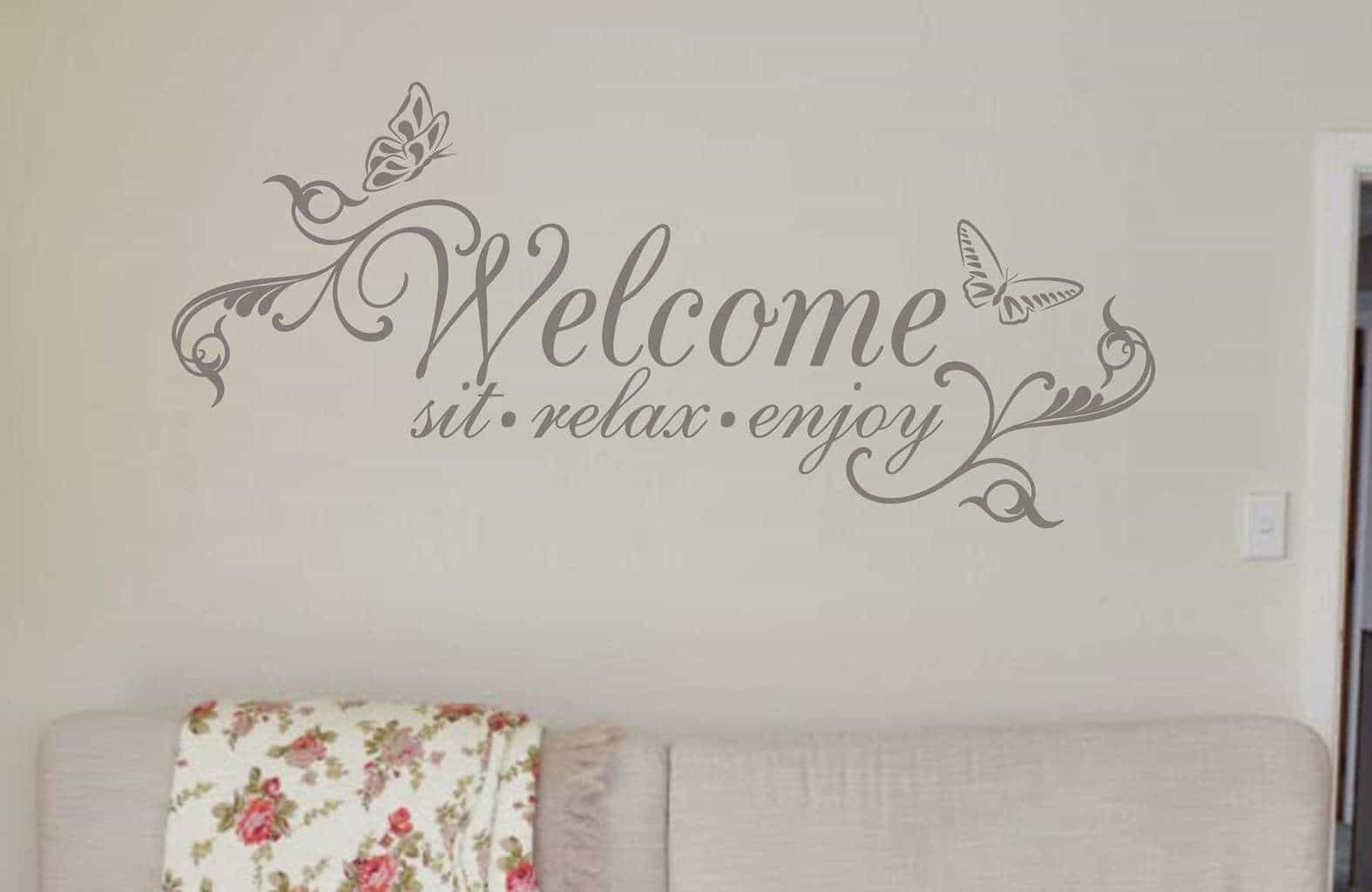 Welcome Wall Art Decal Sticker | Wall Art Decal Sticker Regarding Most Recently Released Relax Wall Art (View 12 of 20)