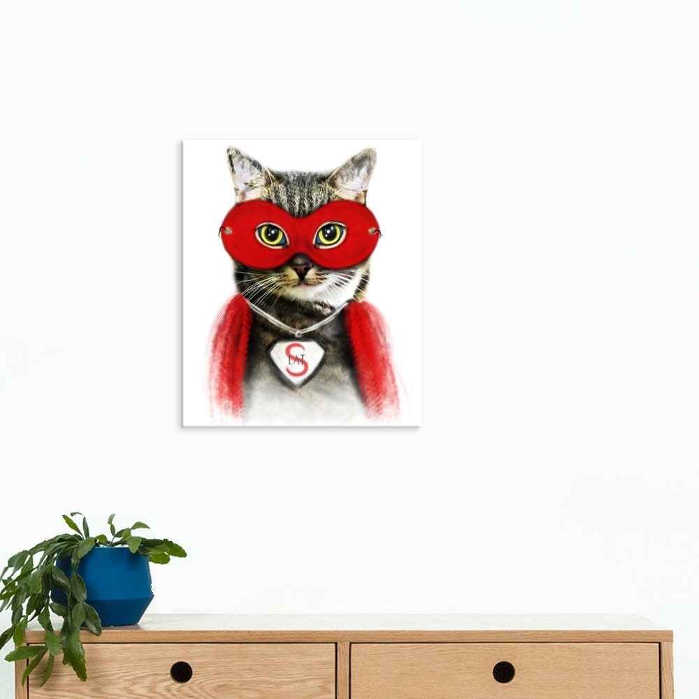 Well Design Canvas Painting Cat Wall Art Picture Of Cool Cat Wearing Pertaining To Most Up To Date Cat Canvas Wall Art (View 20 of 20)