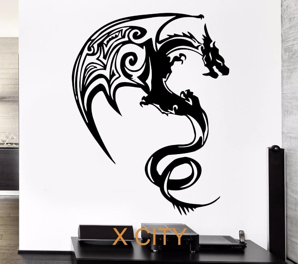 Western Dragon Monster Cool Children Bedroom Wall Art Decal Sticker Intended For Recent Cool Wall Art (View 11 of 15)