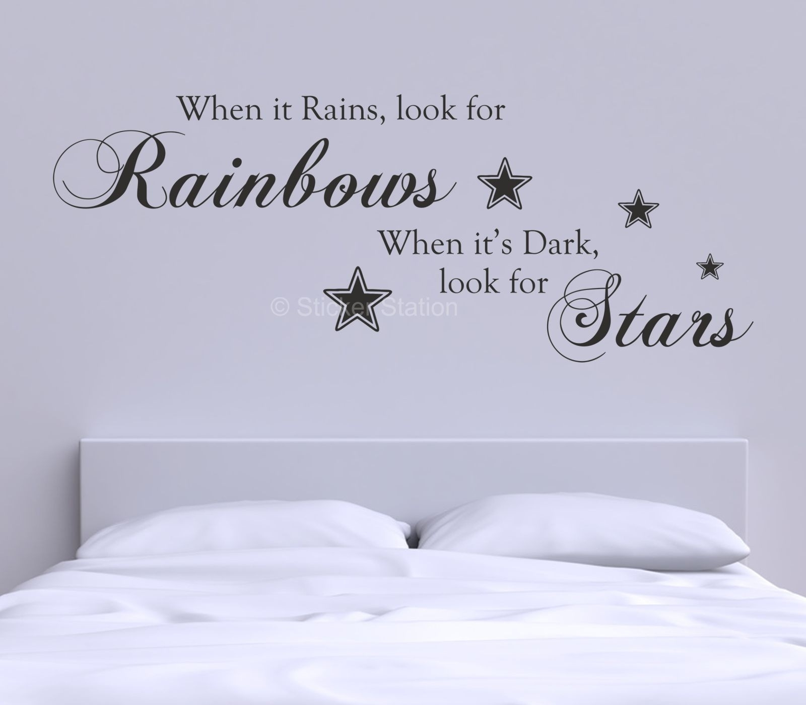 When It Rains Look For Rainbows Quote Wall Art Sticker – Sticker Station For Most Up To Date Wall Art Quotes (Gallery 1 of 20)