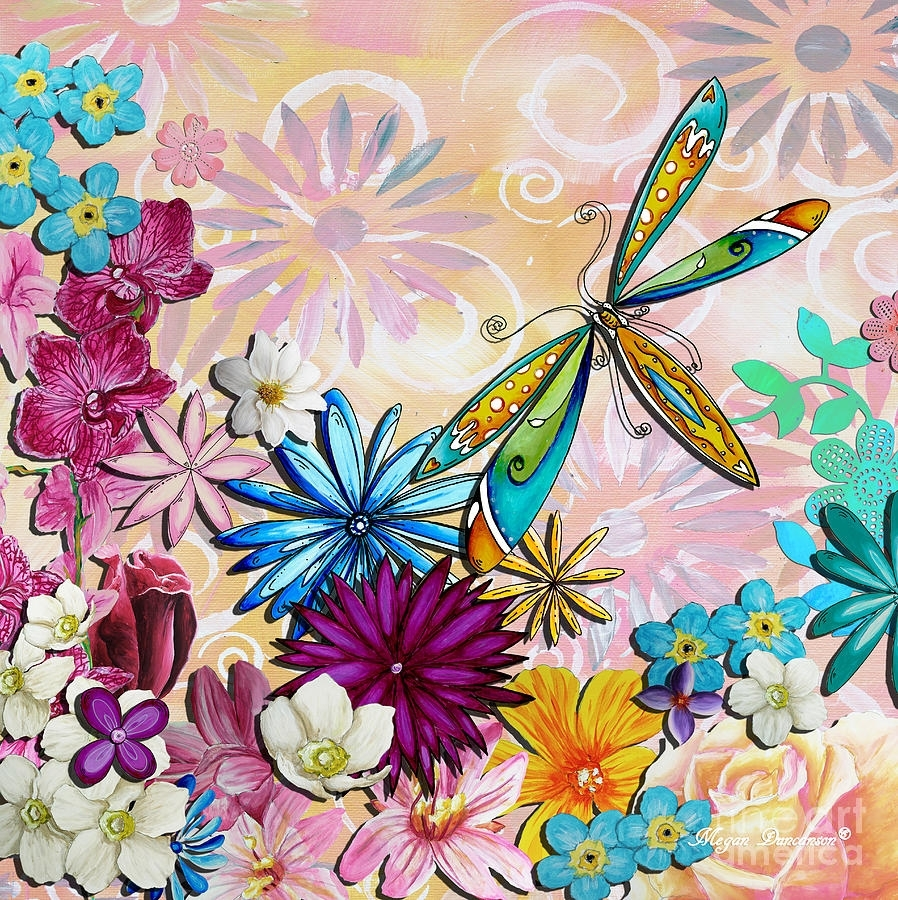 Whimsical Floral Flowers Dragonfly Art Colorful Uplifting Painting Throughout 2018 Dragonfly Painting Wall Art (Gallery 19 of 20)