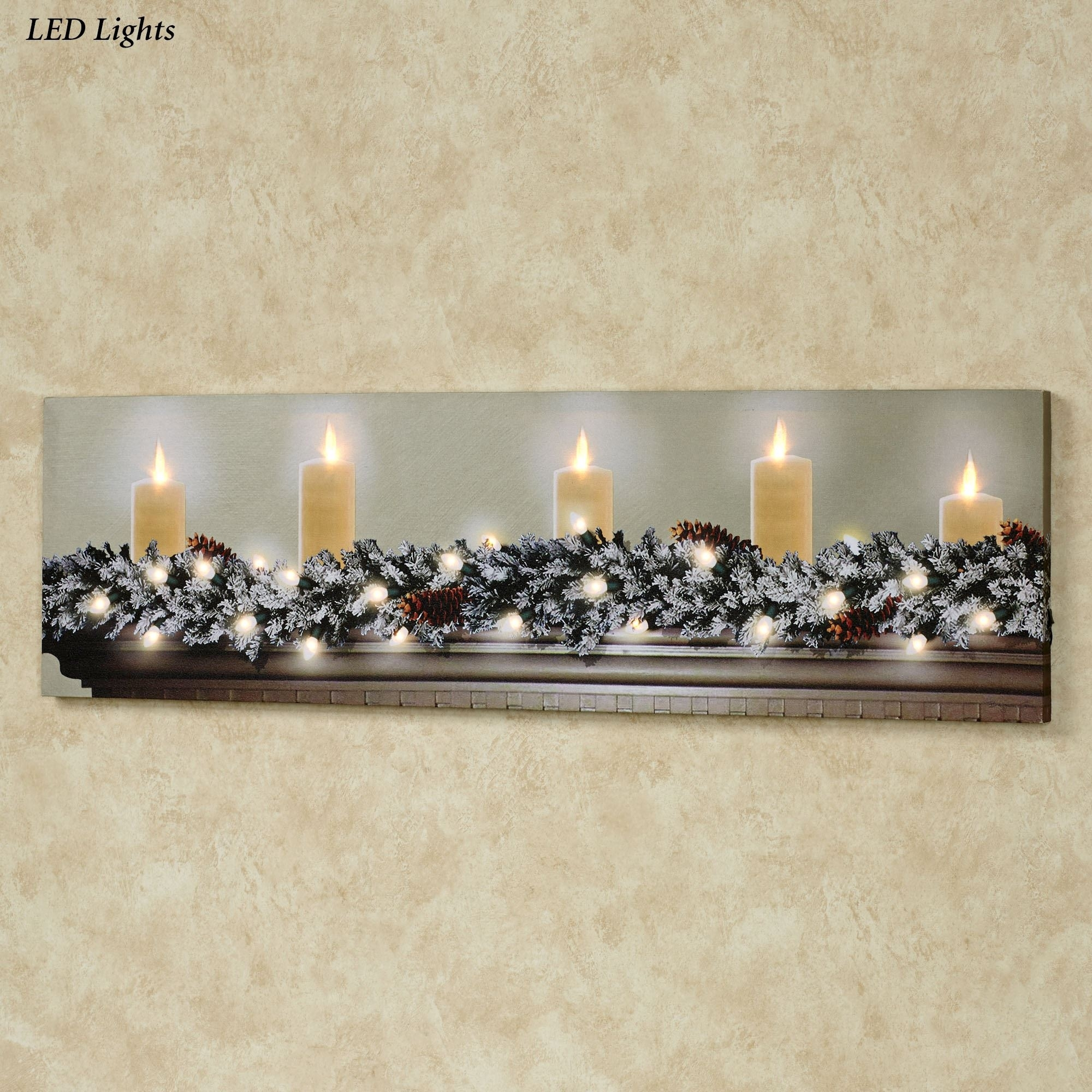 White Christmas Led Lighted Canvas Wall Art Intended For Latest Lighted Wall Art (View 6 of 20)