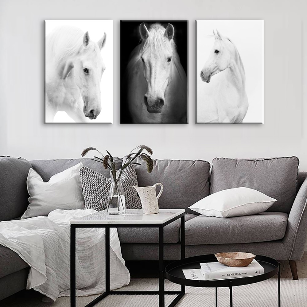 White Horse Wall Art Canvas Prints Modern Art Home Decor For Living For Most Popular Horse Wall Art (View 5 of 15)