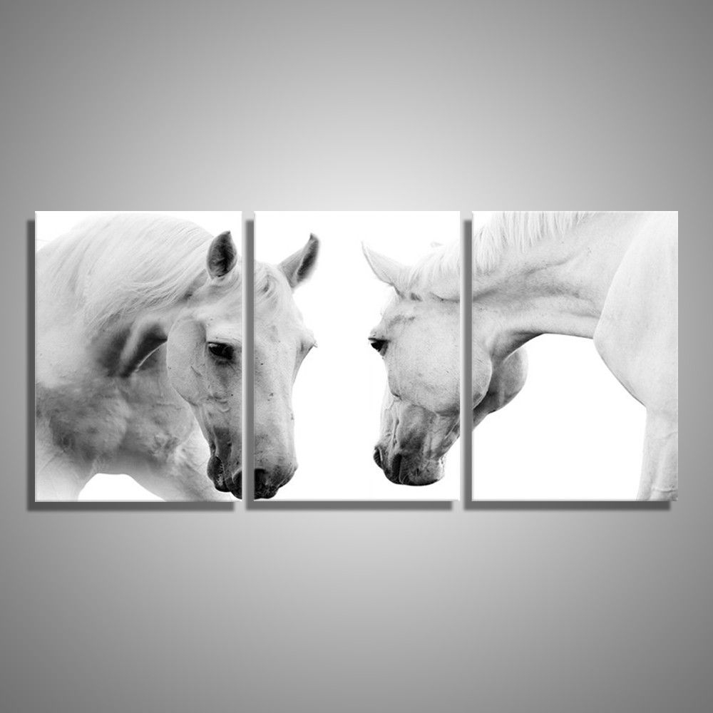 White Horses 3 Piece Wall Art | Cratemill For Recent Horses Wall Art (View 20 of 20)