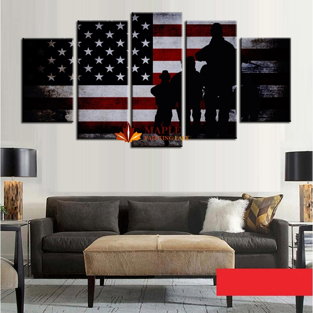 Wholesale 5 Panel Large Poster Printed Canvas Painting Retro Regarding Current Cheap Large Wall Art (Gallery 10 of 20)