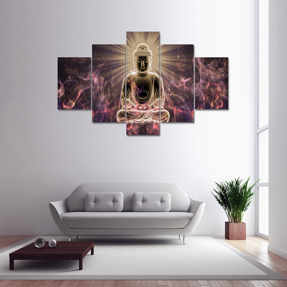 Wholesale Buddha Sitting Canvas Print Painting Home Decoration Wall Intended For Current 5 Panel Wall Art (View 20 of 20)