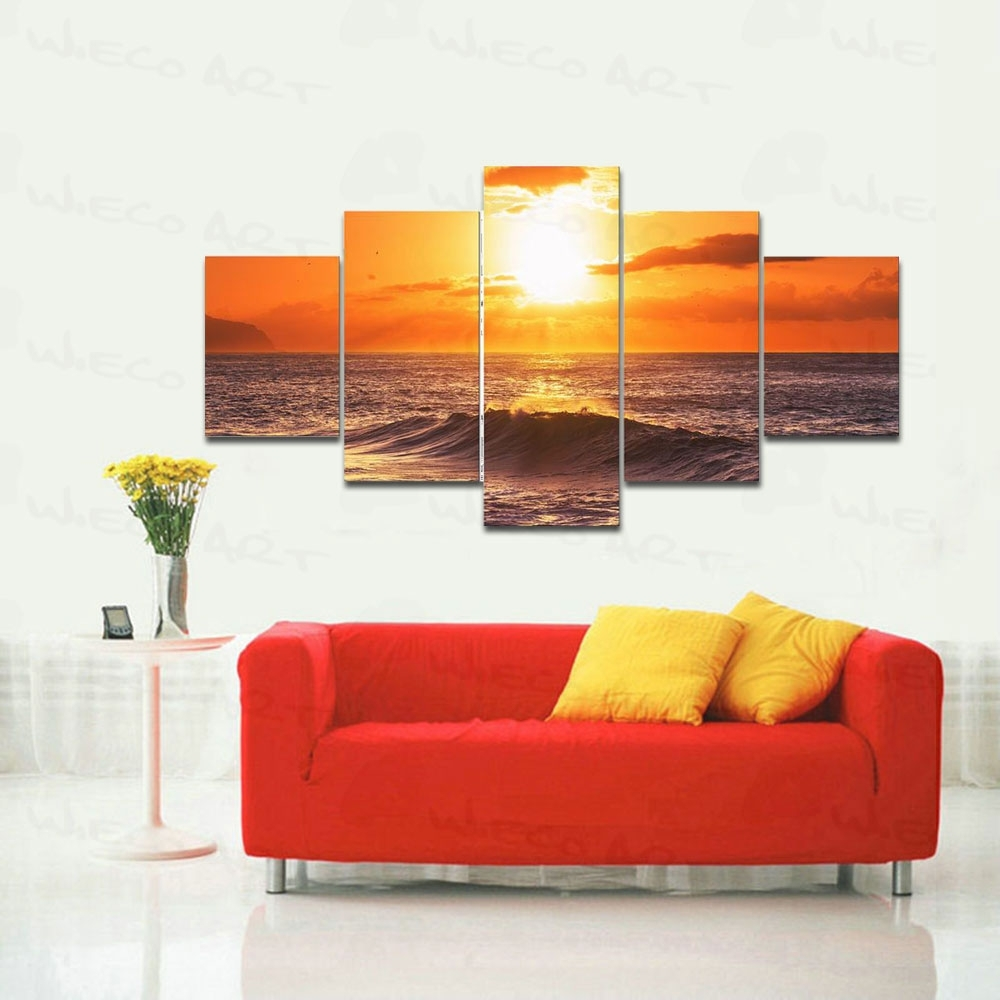 Wieco Art 5 Panels Stretched Large Size The Morning Sea Hd Canvas Pertaining To Latest Large Framed Canvas Wall Art (Gallery 11 of 20)