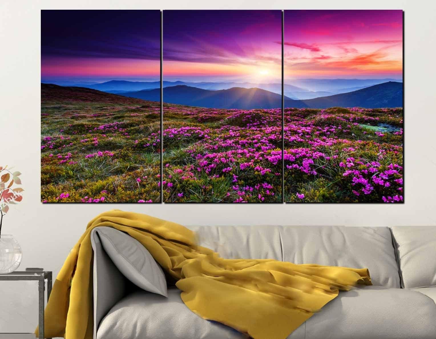 Wild Flowers Wall Art 3 Panel Canvas Print,nature Wall Art,wild In Most Current Nature Wall Art (Gallery 10 of 20)