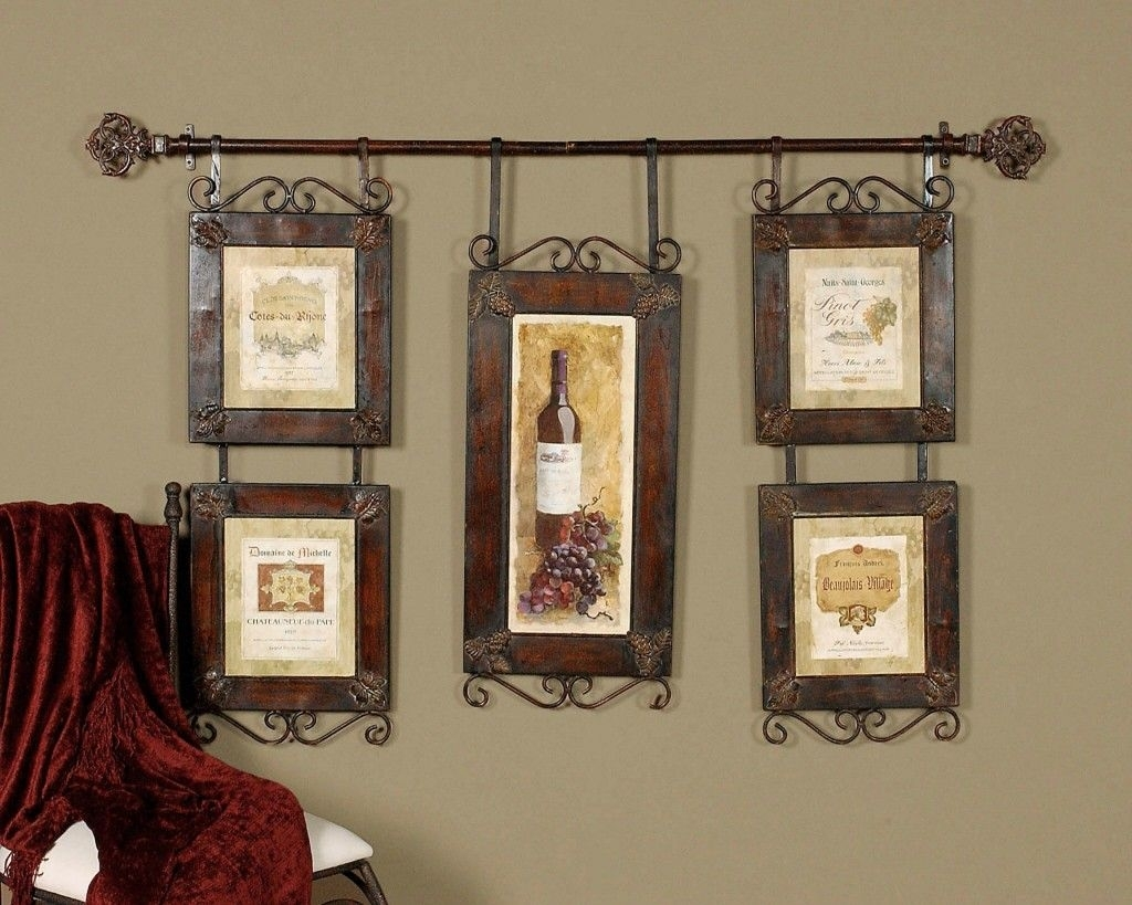 Wine Decor | Large Wine Collage French Country Tuscan Wall Decor Pertaining To Current Country Wall Art (Gallery 4 of 20)