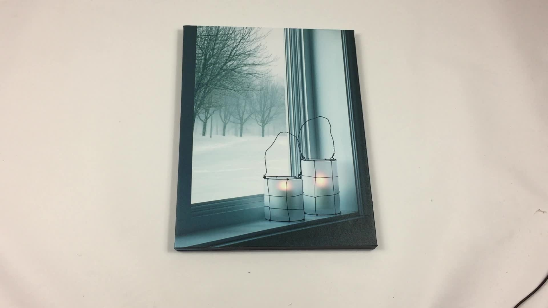 Winter Lantern In Window Scenery Led Light Painting Canvas Wall Art With Regard To Most Recently Released Window Frame Wall Art (View 13 of 15)