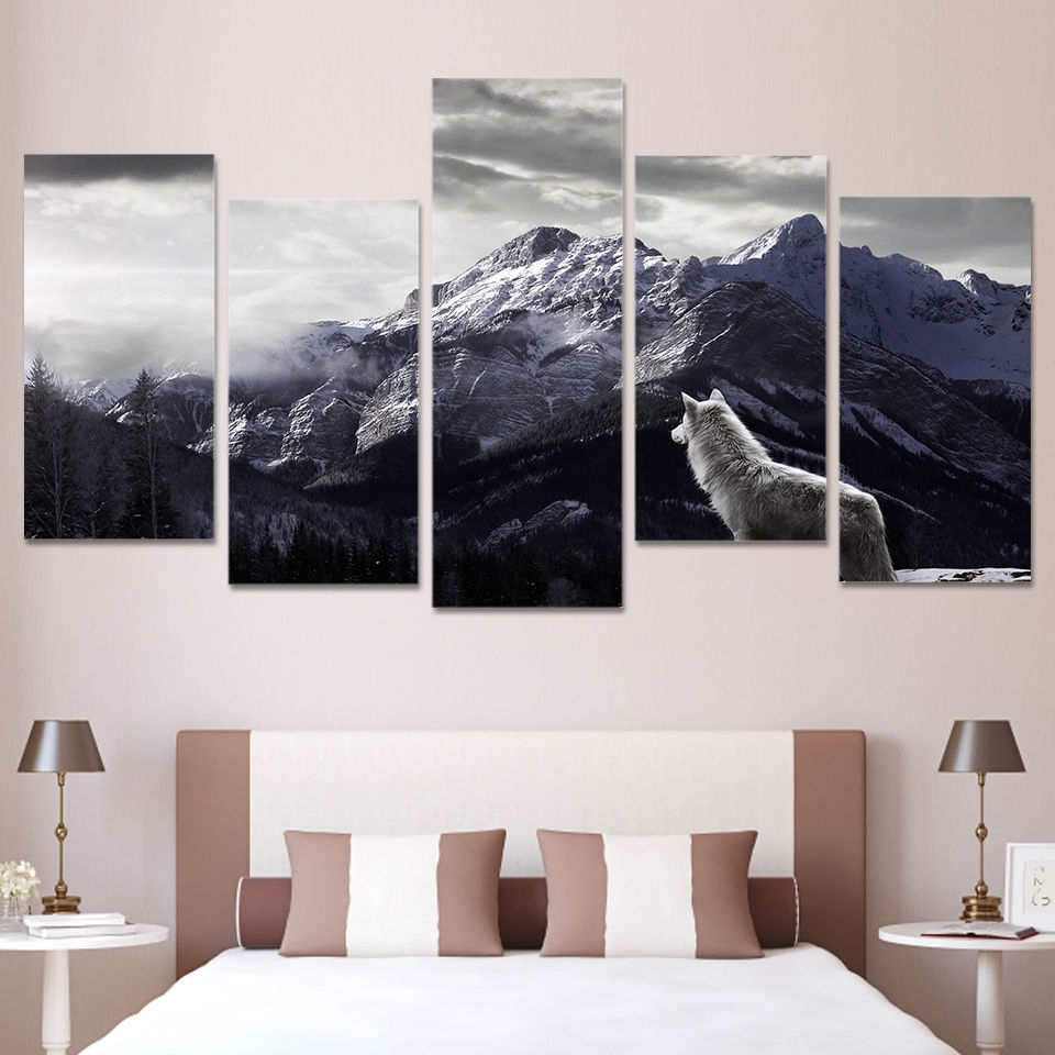 Wolf Canvas 5 Piece Wall Art Prints Snow Mountain Picture Large Home Regarding Best And Newest 5 Piece Wall Art (Gallery 11 of 20)