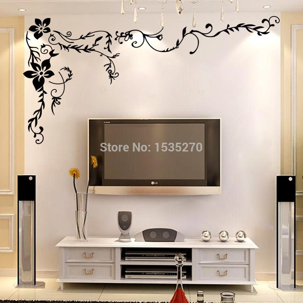 Wonderful Flower Vine Wall Stickers For Home Tv Background Wall Art Within Best And Newest Home Wall Art (Gallery 5 of 20)