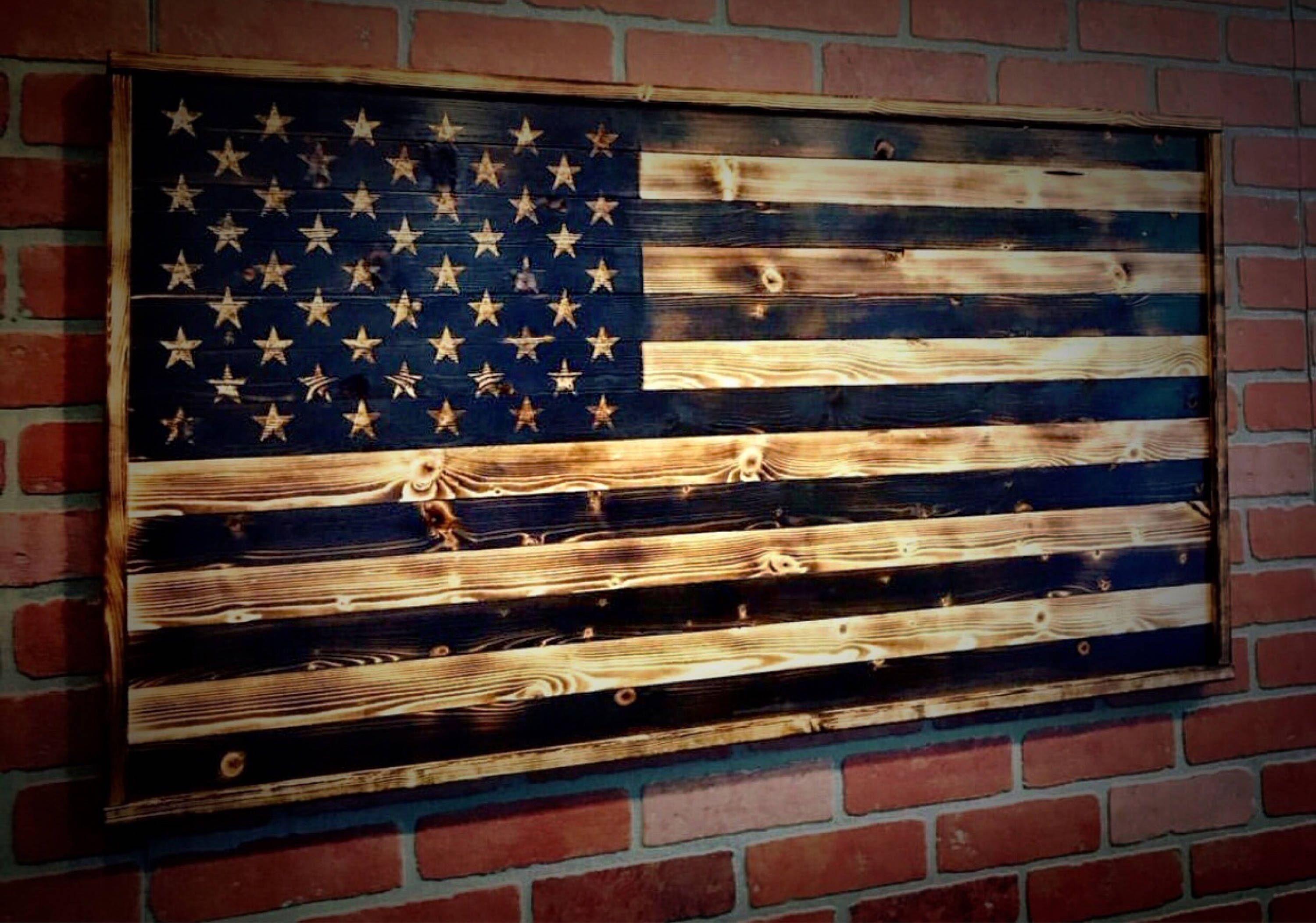 Wood American Flag, Gift For Him, Wood Flag, American Flag Pertaining To Most Recent Rustic American Flag Wall Art (Gallery 11 of 20)