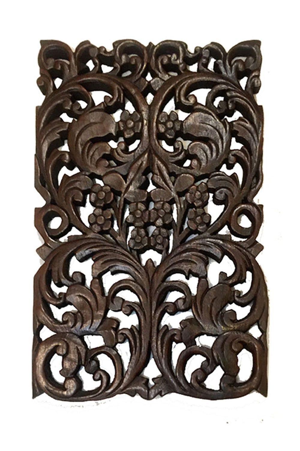 Wood Carved Panels Floral. Oriental Home Decor. Teak Wood Wall For 2018 Oriental Wall Art (Gallery 11 of 20)