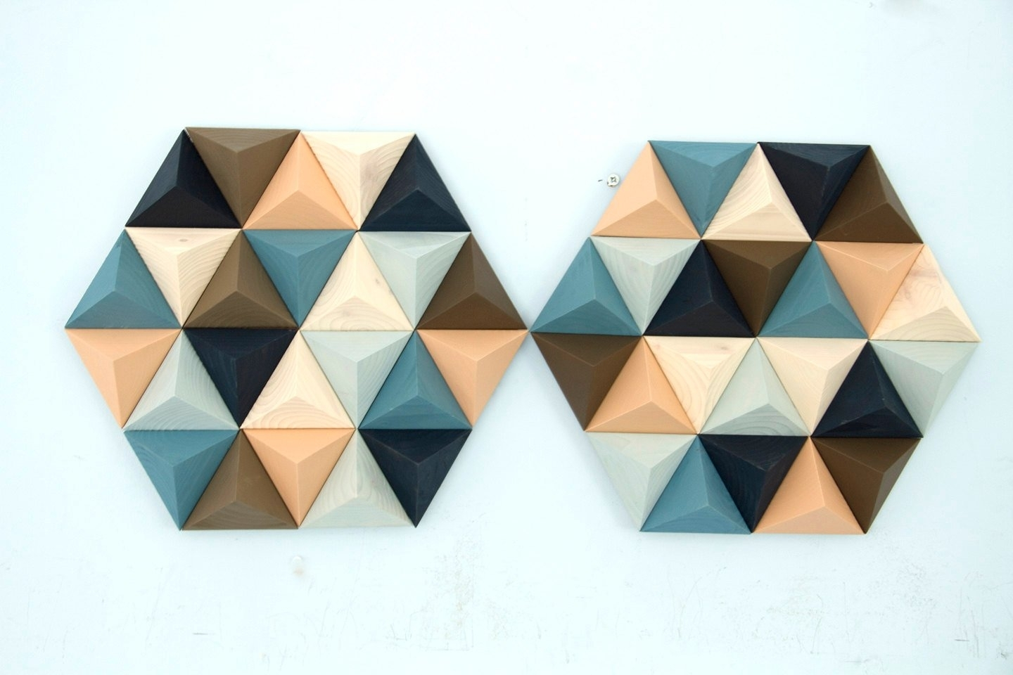 Wood Wall Art Geometric, Hexagon, Set Of 2, Mid Century Wall Art Regarding Newest Mid Century Wall Art (View 18 of 20)