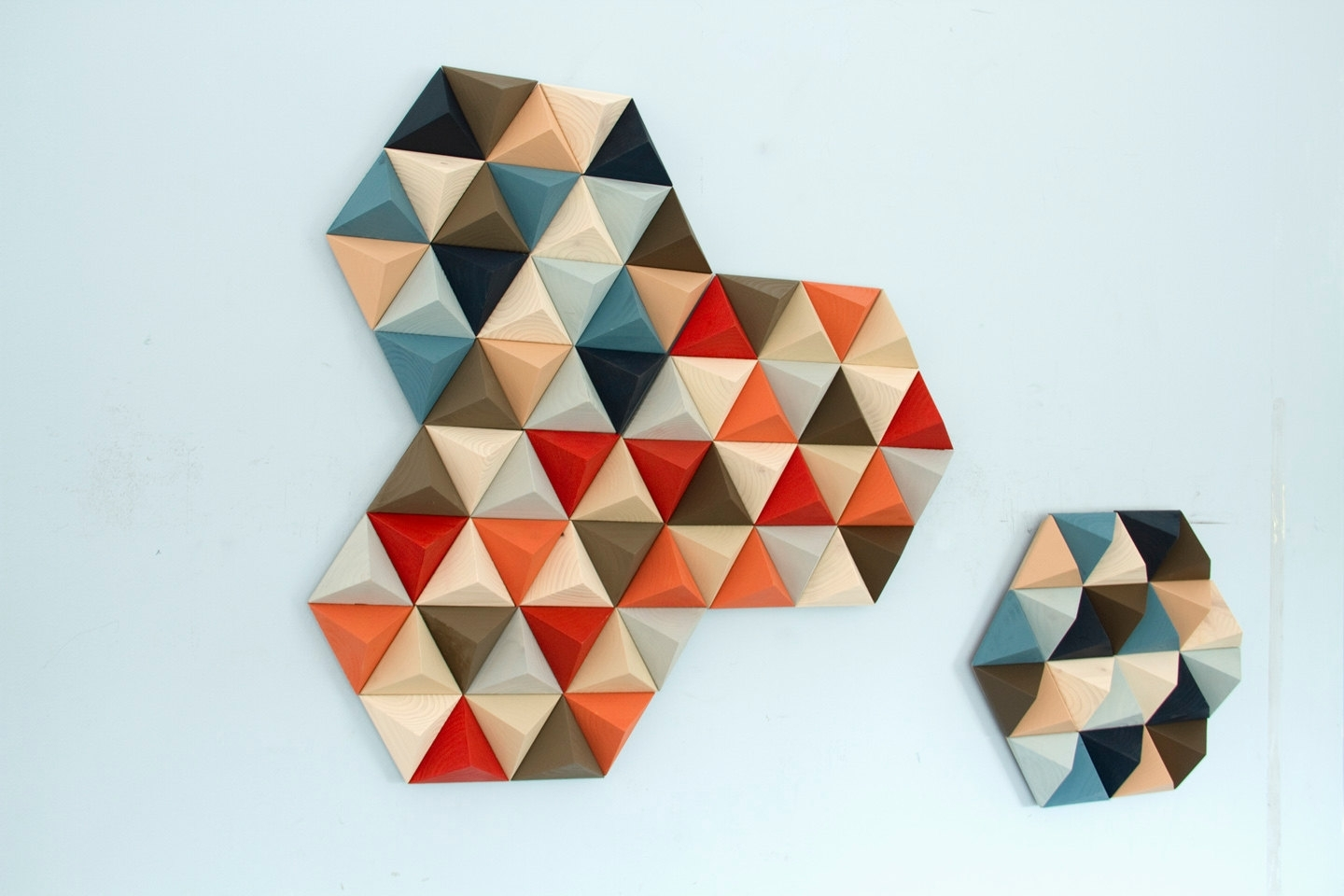 Wood Wall Art, Geometric, Hexagons, Set Of 4, Mid Century Wall Art Intended For Most Recent Mid Century Wall Art (Gallery 20 of 20)