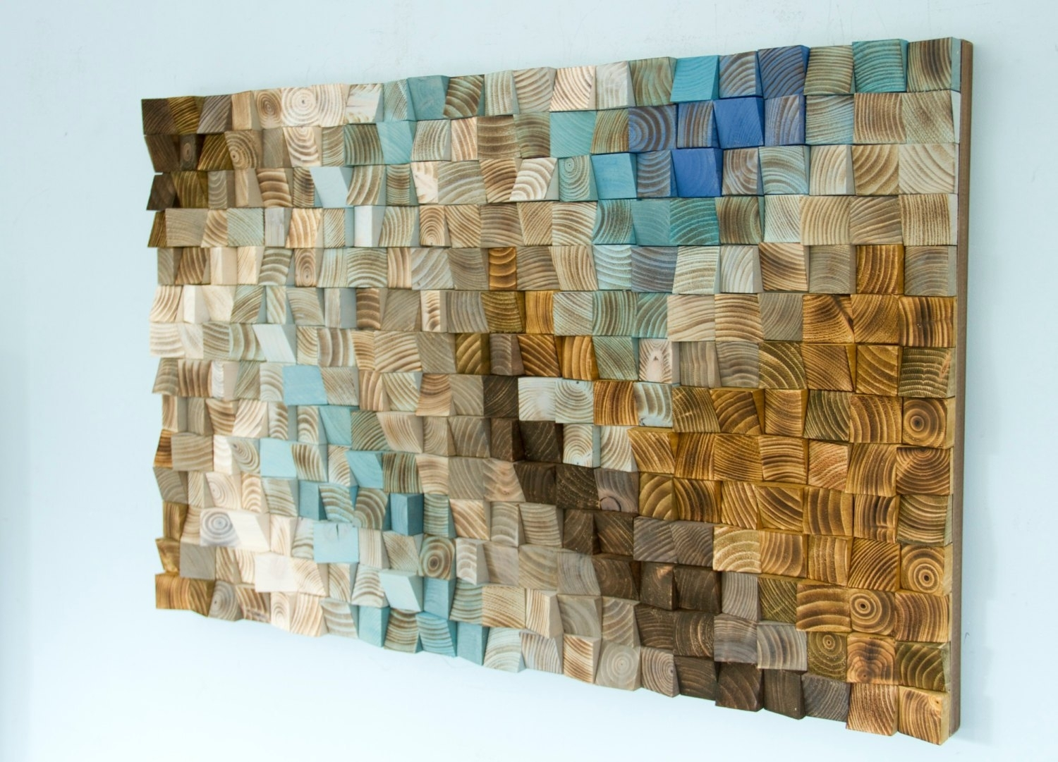 Wood Wall Art Mosaic, Office Wall Decor, Geometric Art, 24, Fabric Within Newest Mosaic Wall Art (View 15 of 15)