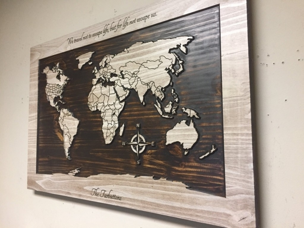 Wood Wall Art World Map Carved Wooden With Within In In Wall Art Inside Most Popular World Map For Wall Art (View 14 of 20)