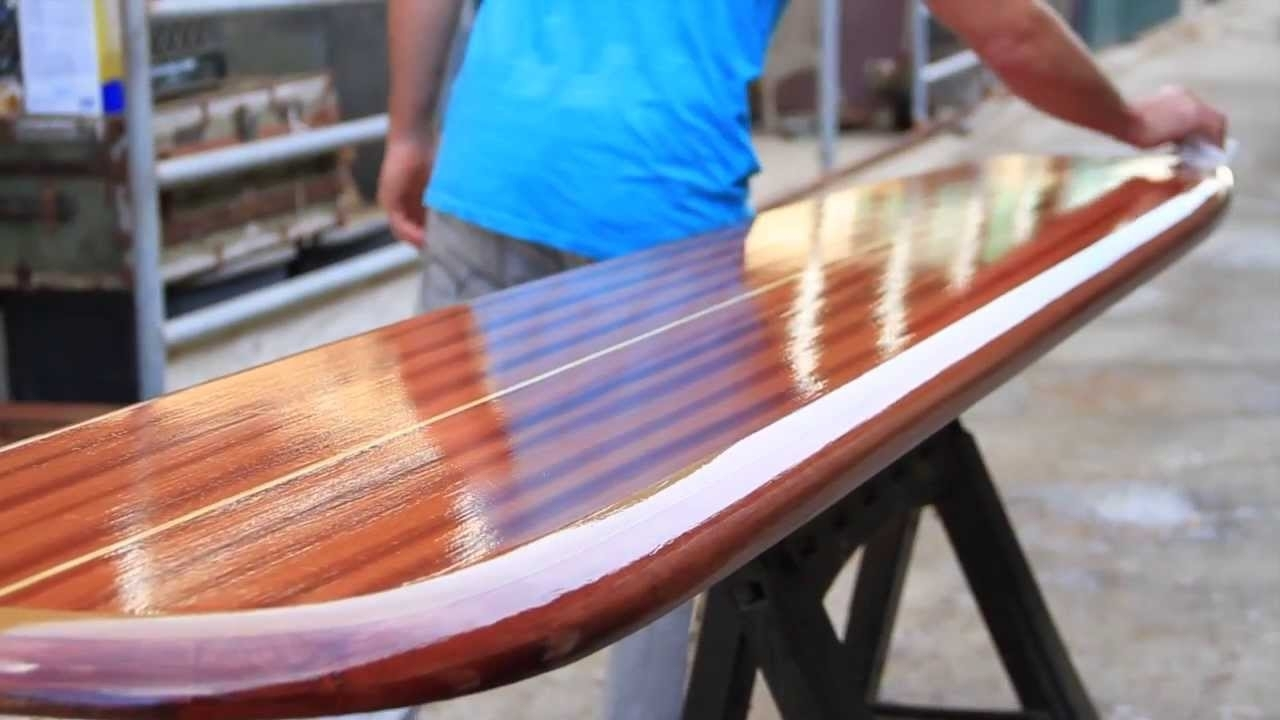 Wooden Surfboards Wall Mount And Surfboard Furniture Art – Youtube Within Most Recent Surfboard Wall Art (View 20 of 20)
