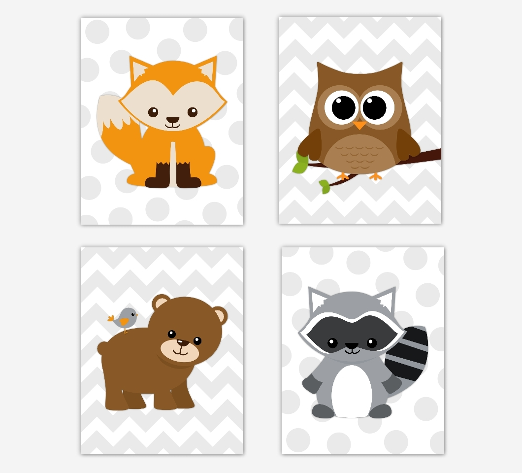 Woodland Animals Baby Boy Nursery Wall Art Prints Fox Owl Raccoon Pertaining To Most Recent Woodland Nursery Wall Art (View 11 of 20)