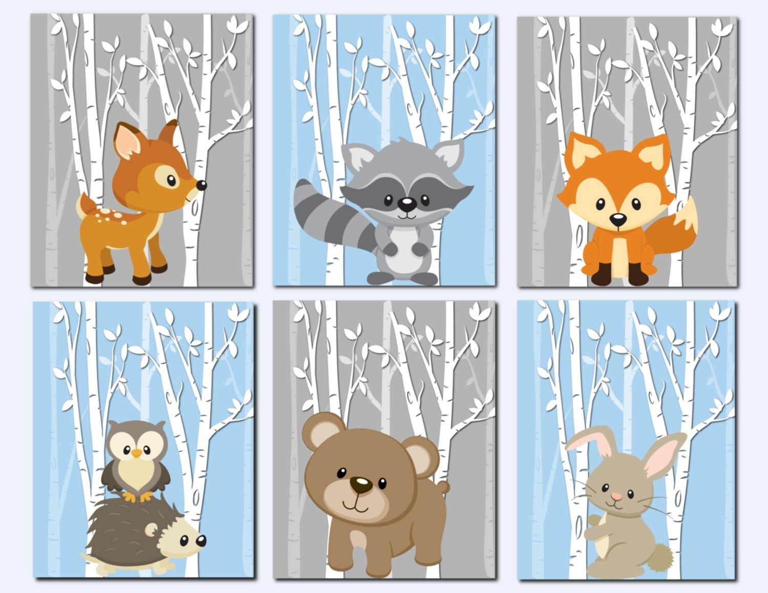 Woodland Nursery Wall Art, Forest Animals Wall Art, Kids Wall Art For Current Woodland Nursery Wall Art (View 2 of 20)