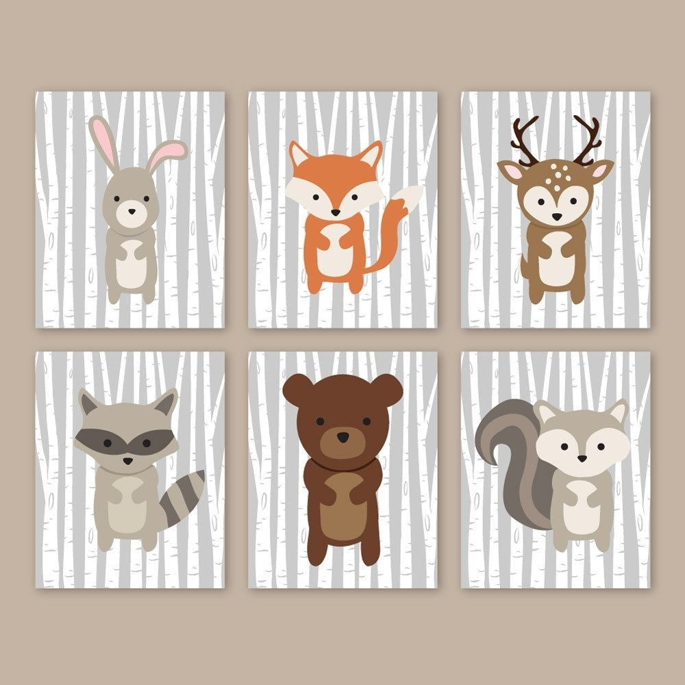 Woodland Nursery Wall Art Forest Animals Woodland Wall Art, Forest Within Most Recent Woodland Nursery Wall Art (View 16 of 20)