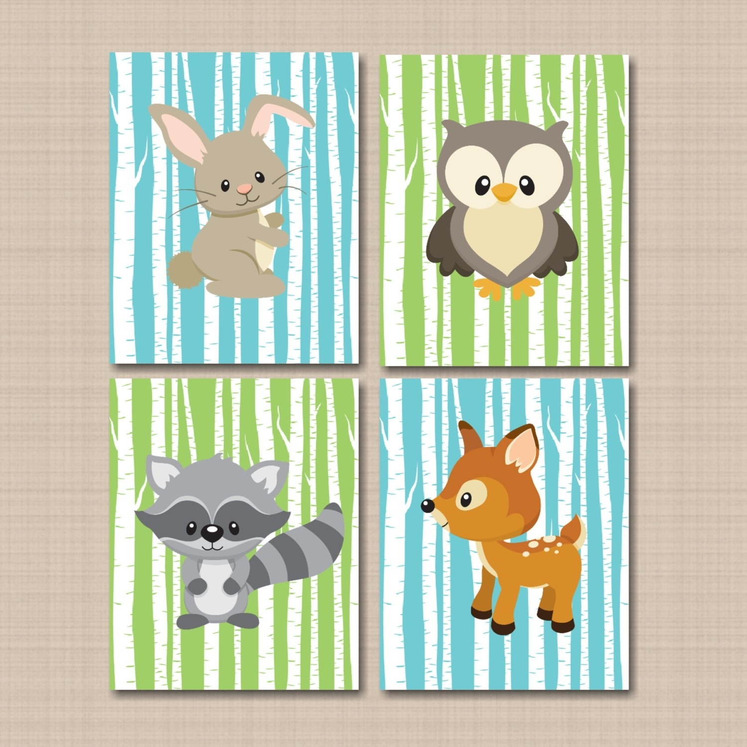 Woodland Nursery Wall Art Woodland Tales Decor Forest Friends With Regard To Most Popular Woodland Nursery Wall Art (View 16 of 20)