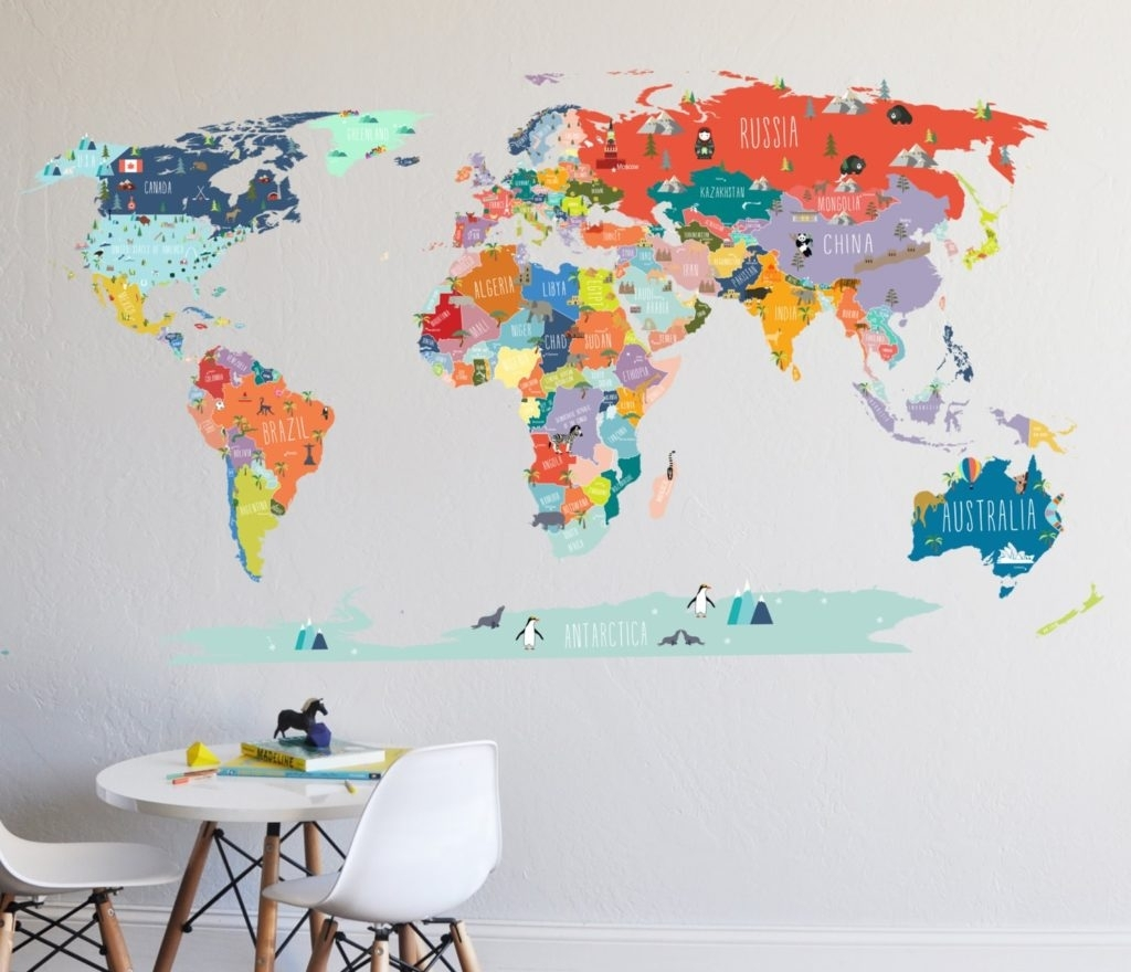 World Map Art New Wall Decal Sticker With Destination Markers Intended For Latest Wall Art Stickers World Map (Gallery 15 of 20)