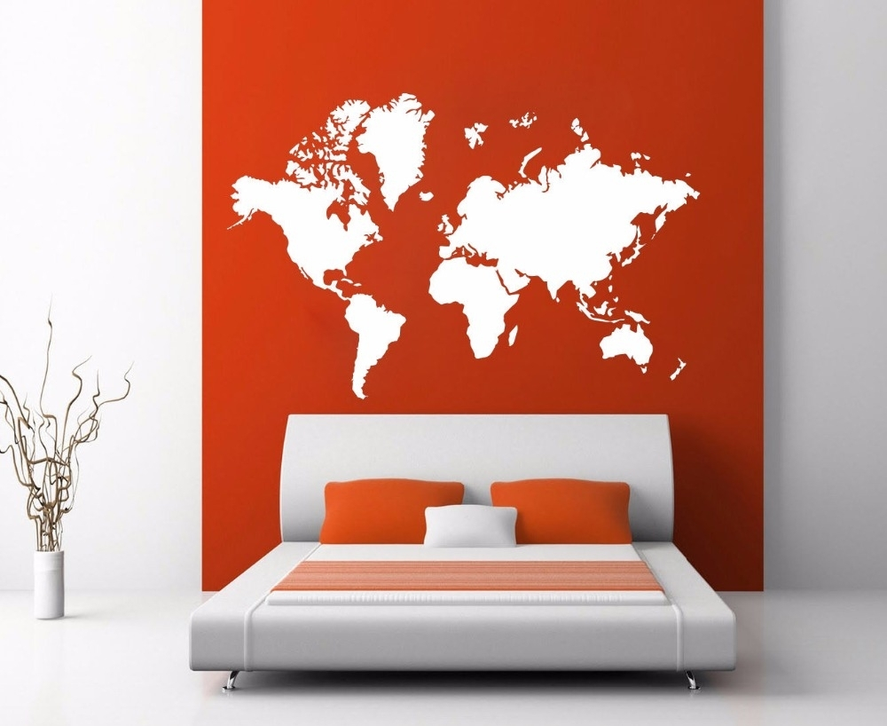 World Map Atlas Silhouette Wall Art Decal Sticker Removable Vinyl With Regard To Most Recently Released Vinyl Wall Art World Map (View 12 of 20)