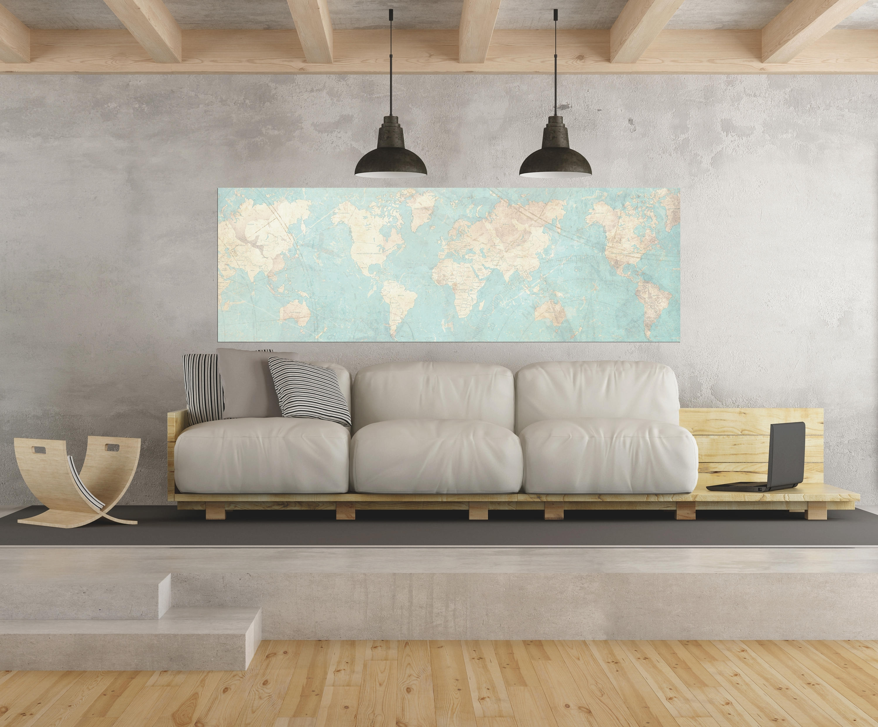 World Map Canvas Print Vintage Map World Map Horizontal Extra Large Throughout Newest Extra Large Wall Art (Gallery 11 of 20)