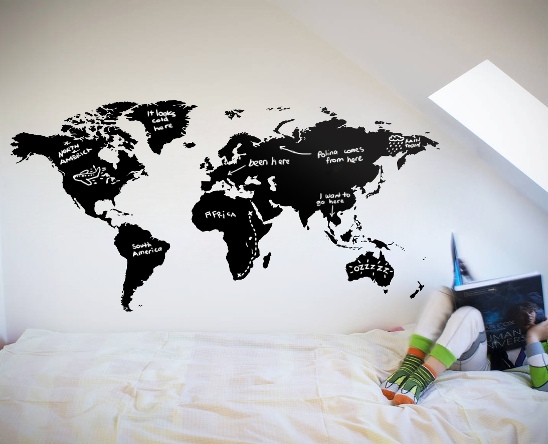 World Map Chalkboard – Your Decal Shop | Nz Designer Wall Art Decals Pertaining To Most Popular World Map For Wall Art (View 16 of 20)