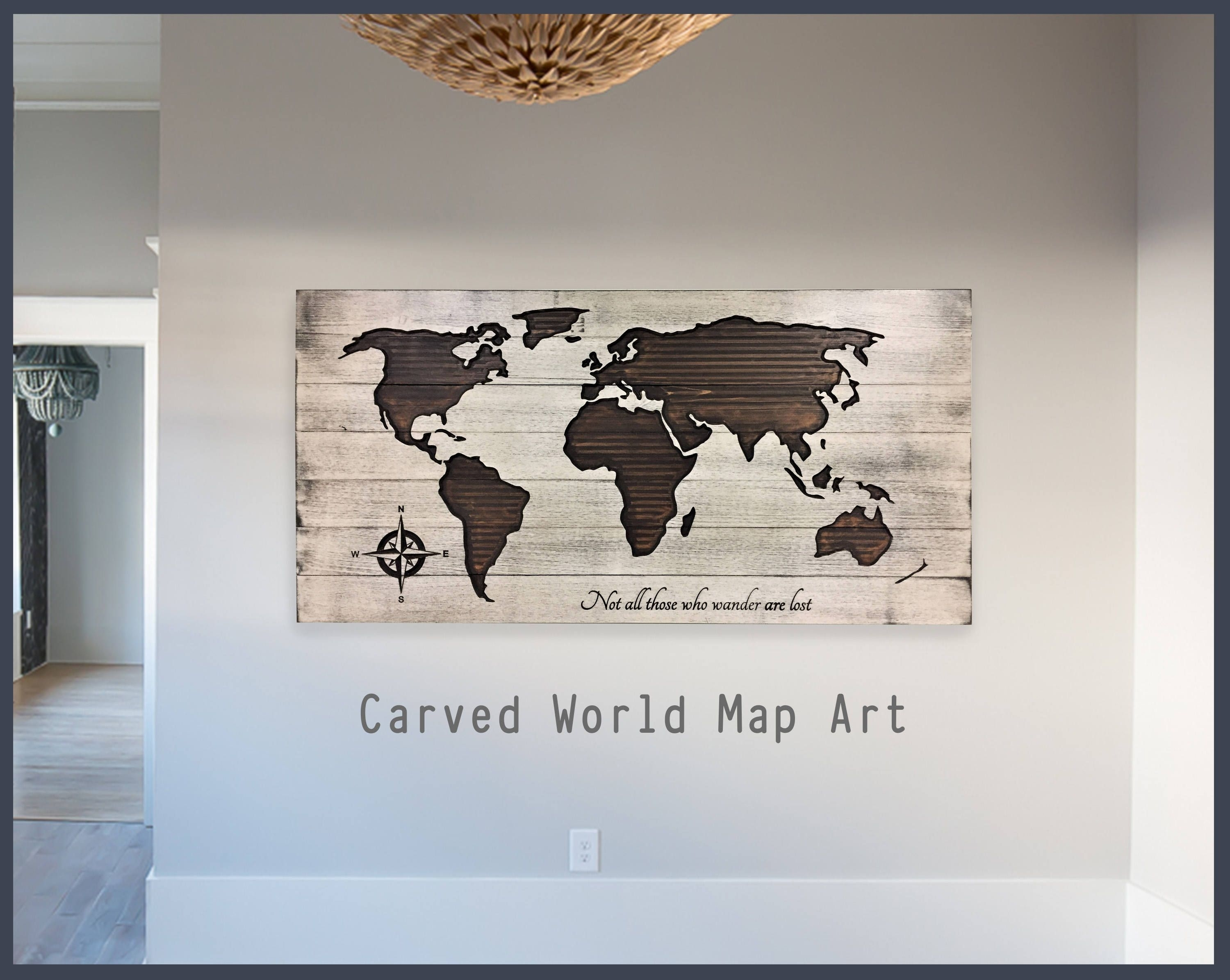 World Map Home Wall Decor, Wooden Map, World Map Wall Art, Wood Wall In Most Popular Map Of The World Wall Art (View 13 of 20)