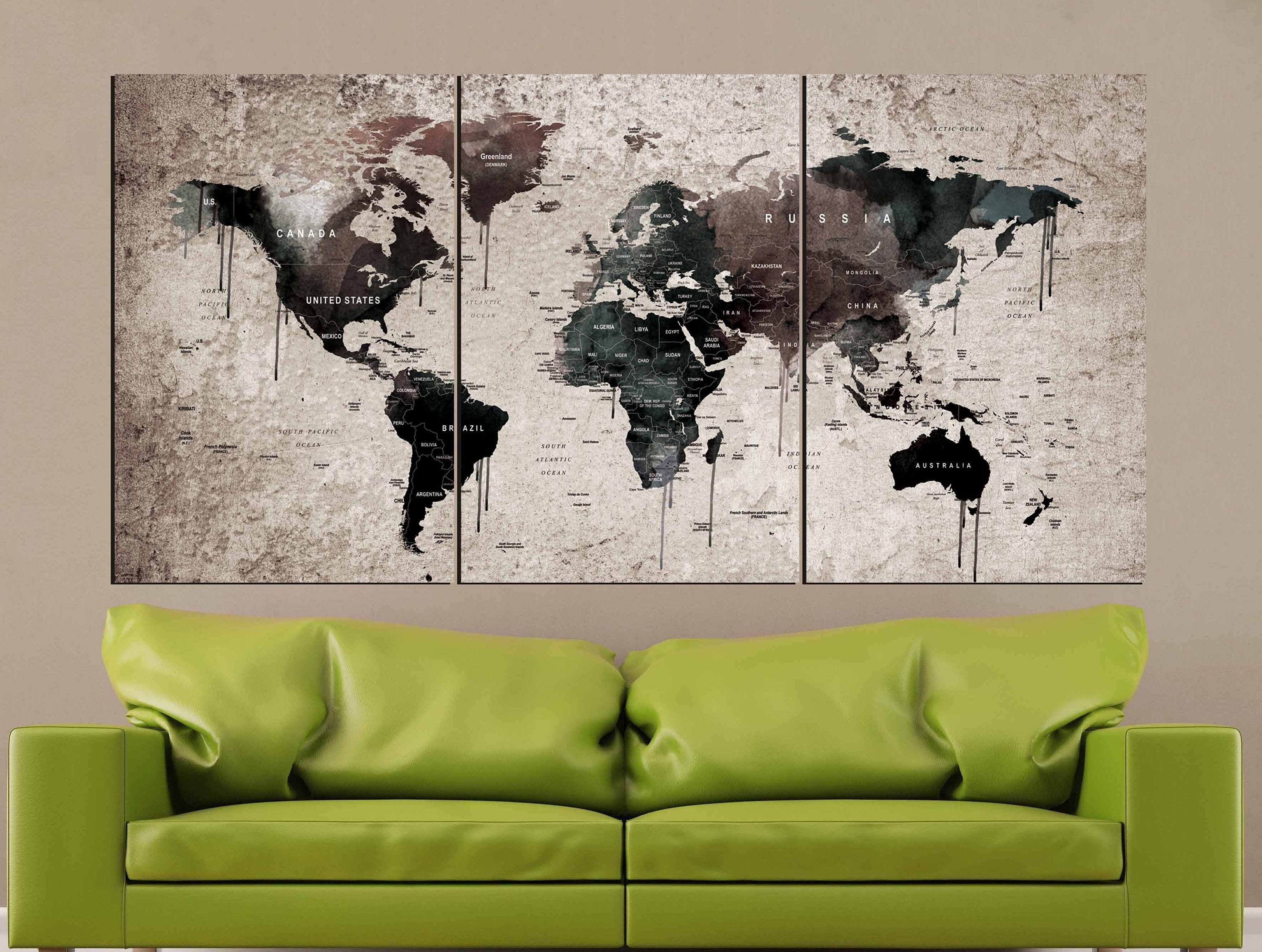 World Map Vintage,world Map Wall Art,vintage Map Canvas Print,world Regarding Current Wall Art World Map (View 13 of 20)