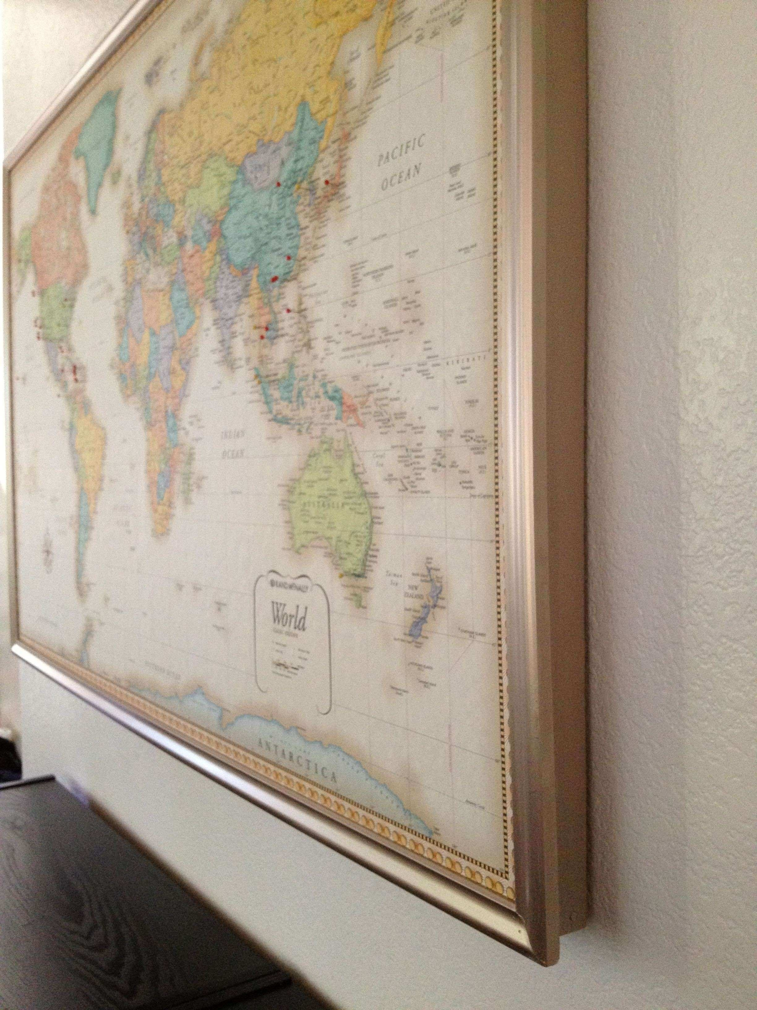 World Map Wall Art Framed Fresh Diy With Pins Of – Awesomebryner Within Latest Diy World Map Wall Art (View 16 of 20)