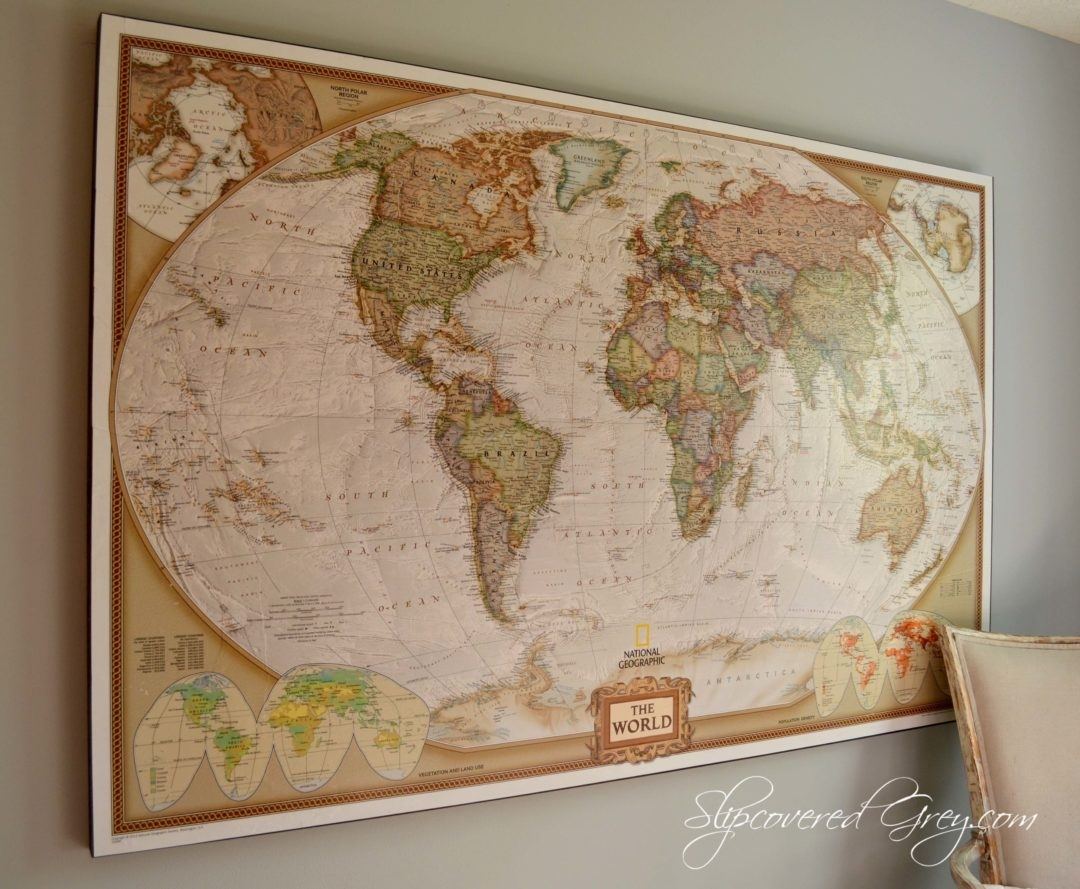 World Map Wall Art – Slipcovered Grey For Newest Maps Wall Art (View 14 of 20)